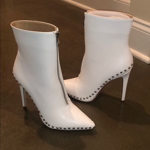 White booties with studs - size 6.5